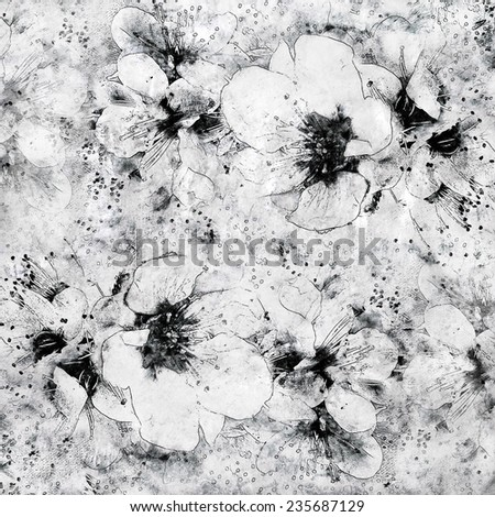 Grunge stained sketching floral background in white,grey,black colors          - stock photo