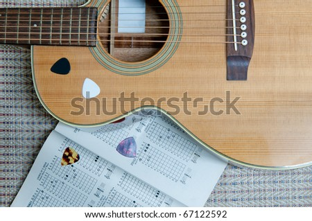 Guitar and Book music in Training Room - stock photo