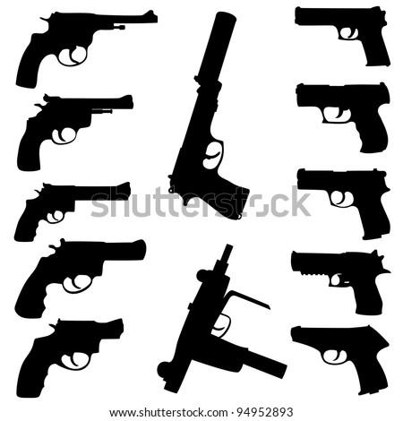 guns set. Raster version. - stock photo