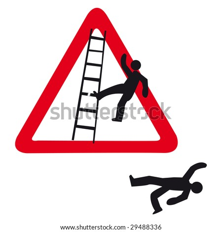 guy falls of a ladder - stock photo