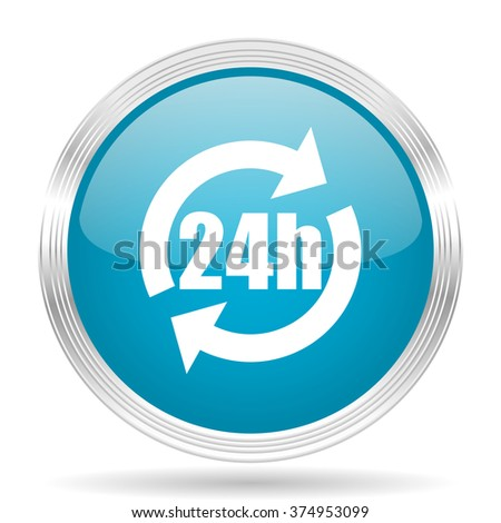 24h blue glossy metallic circle modern web icon on white background