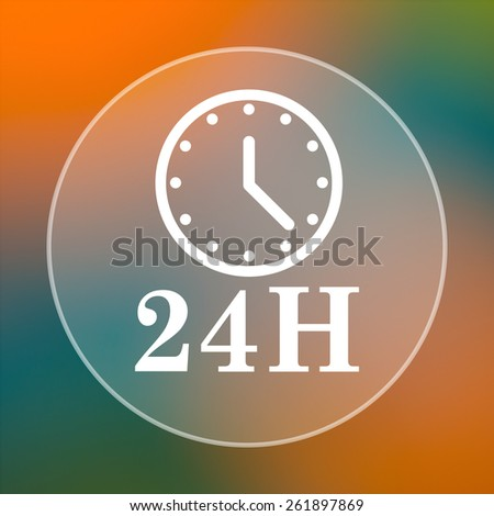 24H clock icon. Internet button on colored  background.  - stock photo