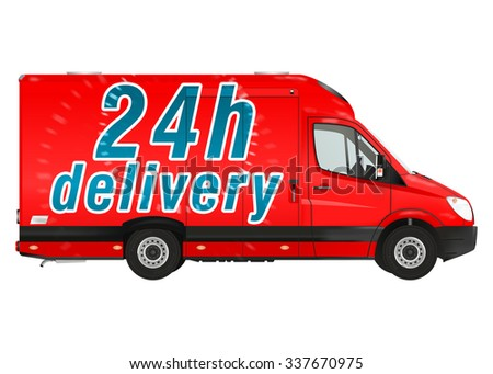 24 h delivery. Red courier van on the white background. Raster illustration. - stock photo