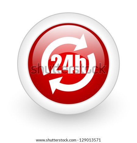 24h red circle glossy web icon on white background