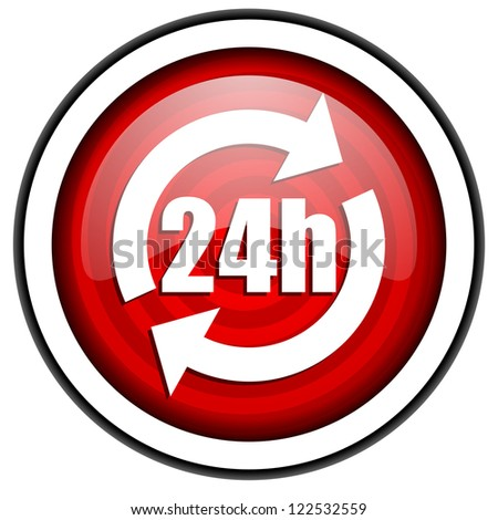 24h red glossy icon isolated on white background