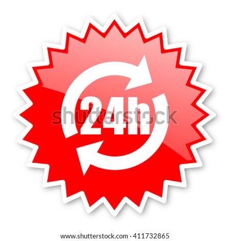 24h red tag, sticker, label, star, stamp, banner, advertising, badge, emblem, web icon - stock photo