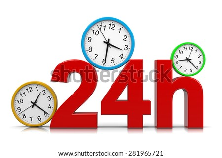 24h Service Red Text with Colorful Round Wall Clocks on White Background 3D Illustration - stock photo