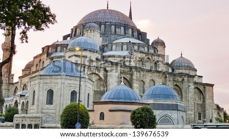 Hagia Sophia , Istanbul, Turkey. Ayasofya is a former Orthodox basilica, later a mosque, and now a museum in Istanbul. Sunset - stock photo