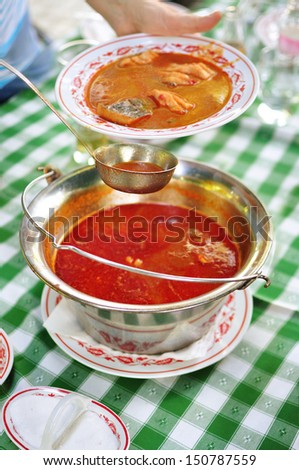 Halaszle - traditional Hungarian fish soup - stock photo