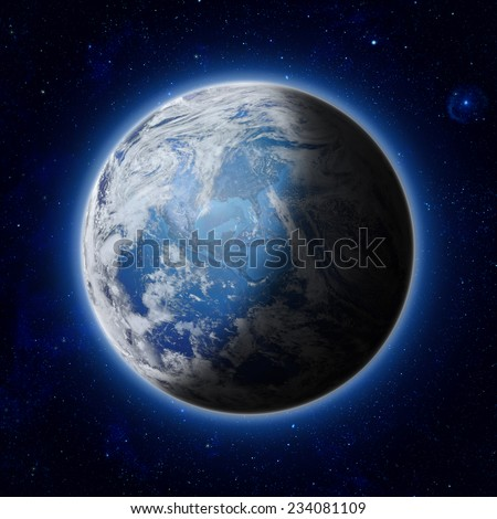 half illuminated, half shadow of Blue Planet Earth with some clouds and stars in the dark sky. America, USA path of global blue World in space. Elements of this image furnished by NASA - stock photo