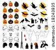 50 Halloween Icons  is original artwork. - stock photo