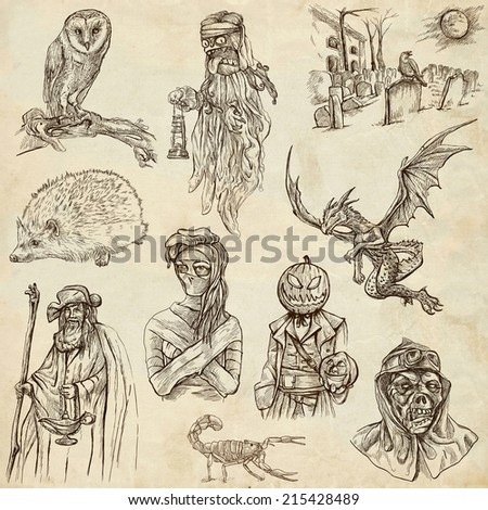 Halloween, Monsters, Magic (and Fairy Tales) - Collection of an hand drawn illustrations. Description: Full sized hand drawn illustrations drawing on old paper. - stock photo