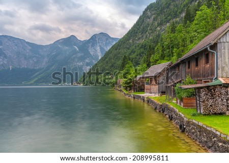 Hallstatter Lake in Alps mountains, Austria