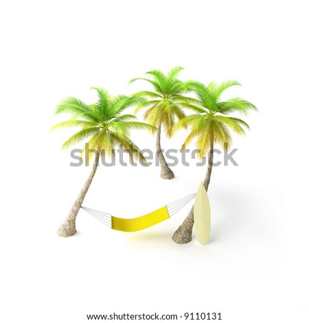 hammock in tropical environment - stock photo