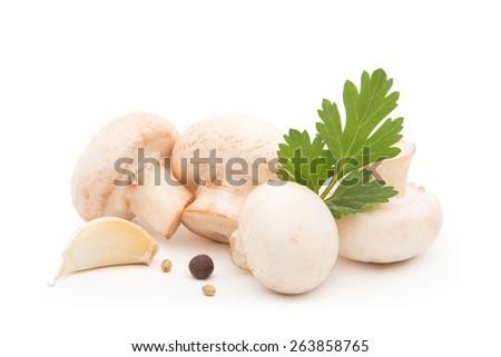 ?hampignon with garlic and herbs - stock photo