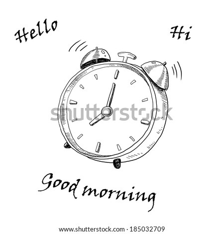 Hand draw black alarm clock  on a white background - stock photo
