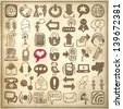 49 hand draw sketch communication element collection on grunge paper background, icons set,  raster version - stock
