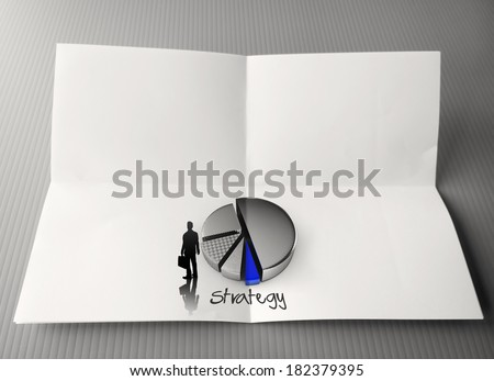 hand drawing business strategy word and 3d pie chart icon crumpled paper as concept - stock photo
