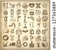 49 hand drawing doodle icon set on grunge background, raster version - stock photo