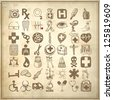 49 hand drawing doodle icon set on grunge paper background, medical theme, raster version - stock photo