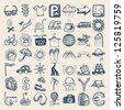 49 hand drawing doodle icon set, travel theme, raster version - stock photo
