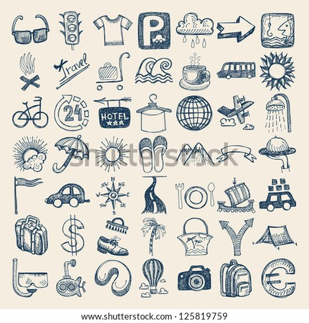 49 hand drawing doodle icon set, travel theme, raster version