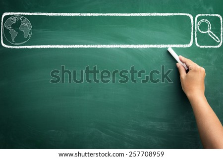hand drawing search bar on  chalkboard, concept internet searching  - stock photo