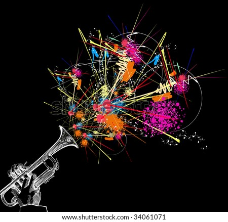 hand drawing vector illustration of a trumpet with colorful abstract decoration - stock photo