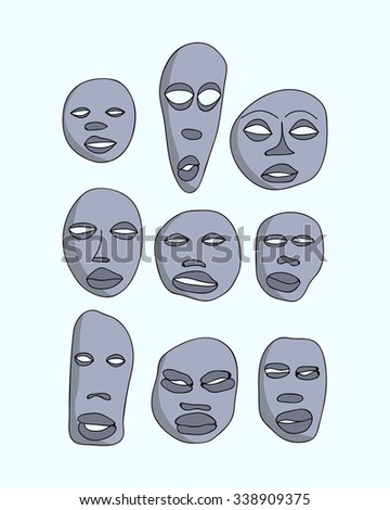 hand drawn primitive african masks set. Isolated national ritual elements sketch collection - stock photo