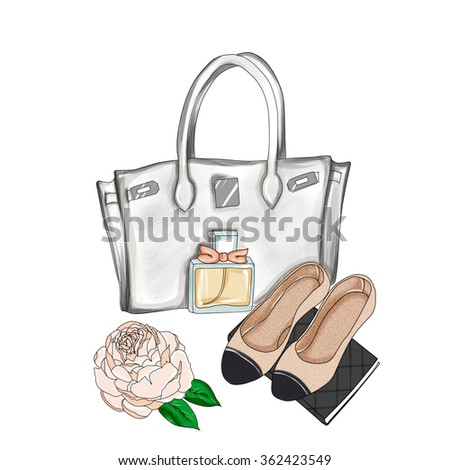 Hand drawn raster background  - designer bag and flat shoes