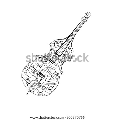 Playing Harp Stringed Musical Instrument Orchestral Stock Vector ...