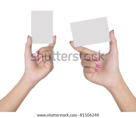 Hand female holding blank card isolated on white background - stock photo
