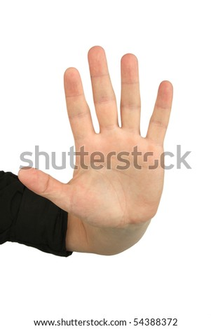 hand gesture stop , isolated on white - stock photo