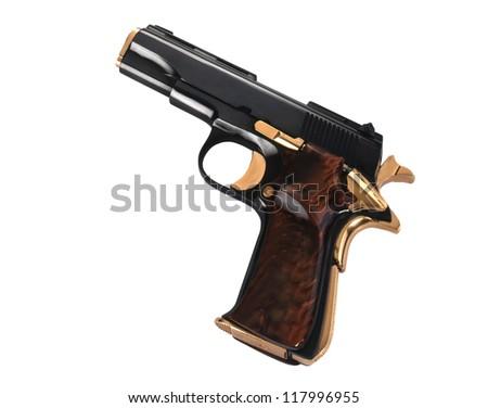 hand gun on white background. - stock photo
