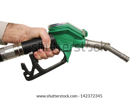 hand holding a petrol pump, isolated - stock photo