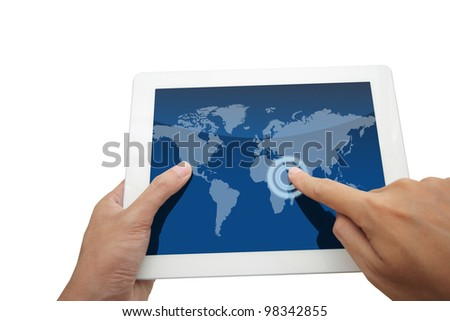 Hand holding a world social network