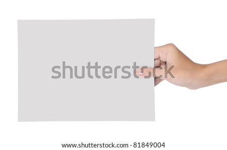 hand holding blank paper isolated on white background 2 - stock photo