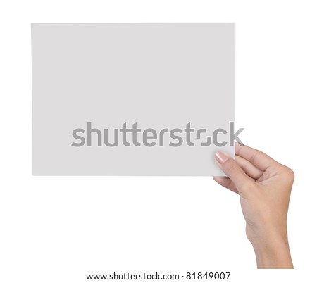 hand holding blank paper isolated on white background 7 - stock photo