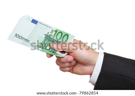 Hand of businessman holding one hundred euro banknotes,  isolated on the white background, clipping path included. - stock photo