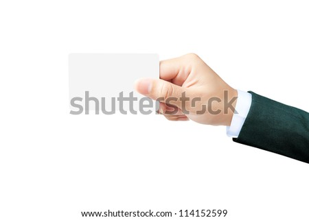 Hand of women holding blank paper label or tag on white background - stock photo