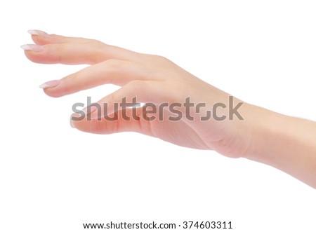 hand on Ã?? white background - stock photo