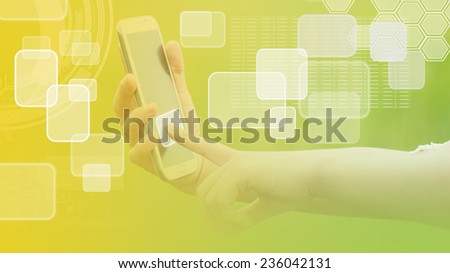 Hand pressing a button with index finger extended, isolated on a white background.                             - stock photo