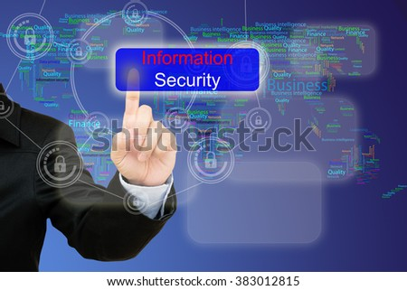 hand pressing information security button on interface with world map  background. - stock photo