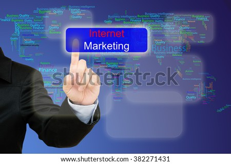 hand pressing internet marketing  button on interface with world map  background.