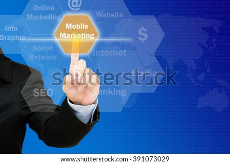 hand pressing mobile marketing  button on interface with world map  background.business concept