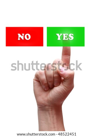 Hand push the button - stock photo