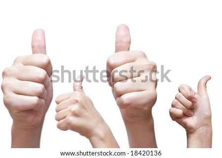 4 hand thumbs up! - stock photo