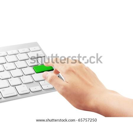 hand touching computer keys during work - stock photo
