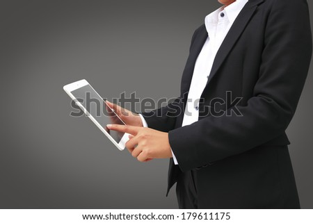 hand touching screen on modern digital tablet