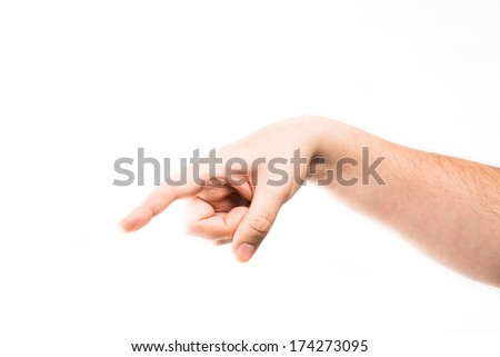 hand touching virtual screen